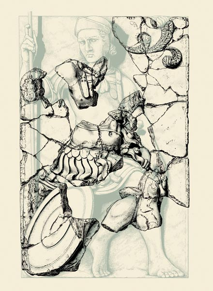Drawing of fragments of a stucco Roman soldier overlaid on a reconstruction of the original statue. He is seated and holds a spear. Reconstructed and drawn by David Honour.