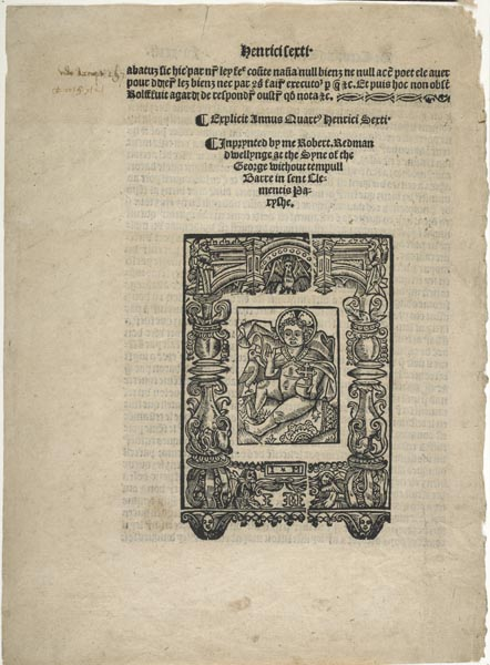Page from a book printed by Robert Redman. There is text at the top and below a woodcut of the baby Jesus with a decorative border. He sits, wearing a cloak and holding an orb in his left hand.