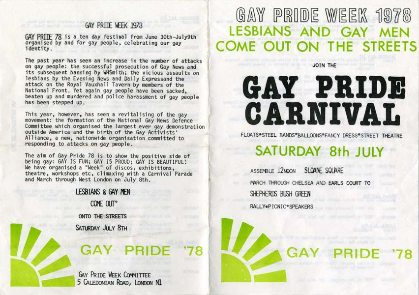 Leaflet printed in lime green and black on white giving information on Gay Pride Week 1978