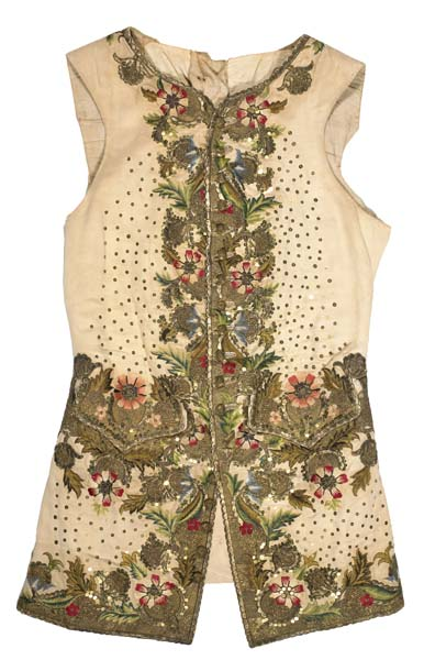 Waistcoat decorated with elaborate floral embroidery and sequins