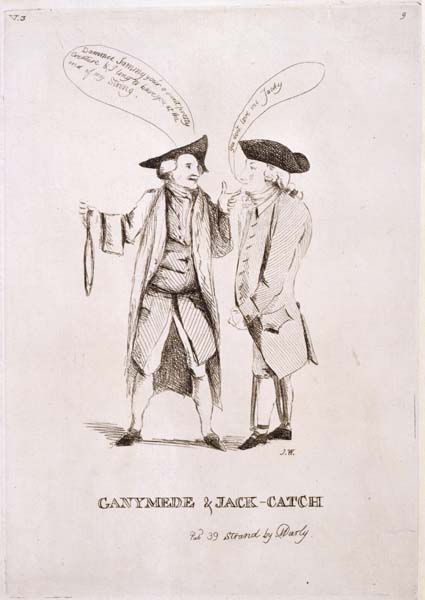 Two men in conversation with speech bubbles emerging from their mouths.  The man on the right wears leg irons while the man on the left holds a hangman's noose in his hand.