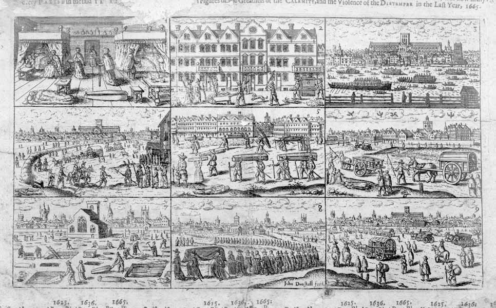 Photograph: woodcut from a plague document showing 9 scenes from the Great Plague, including Londoners escaping and the burial of victims.