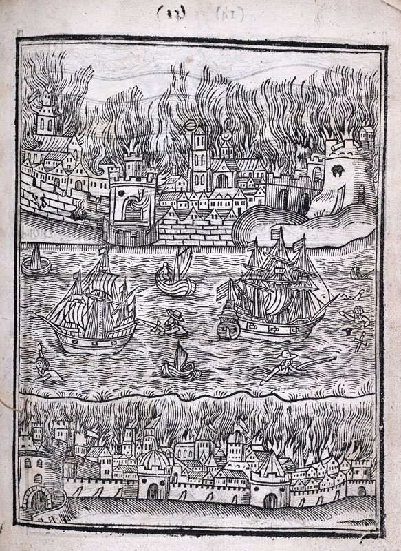 Photograph: woodcut from a book by William Lilly. There is a river in the centre and a walled city on fire at the top and bottom of the page.