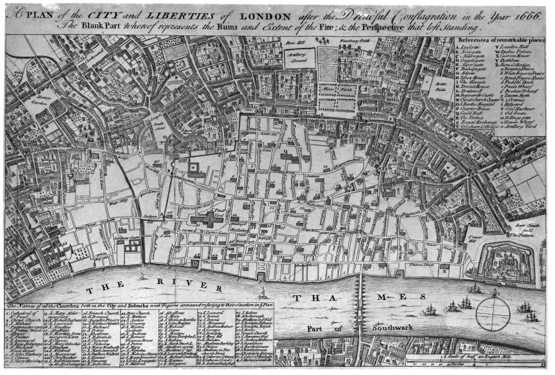 Photograph: map of London in 1666 after the Great Fire. The burnt area is shown in white.
