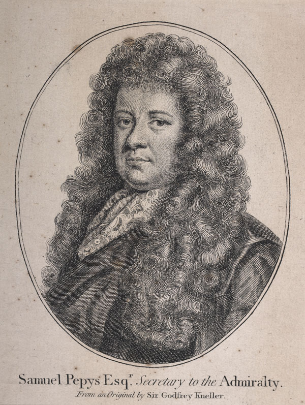 Photograph: engraving of Samuel Pepys wearing a large curly wig.