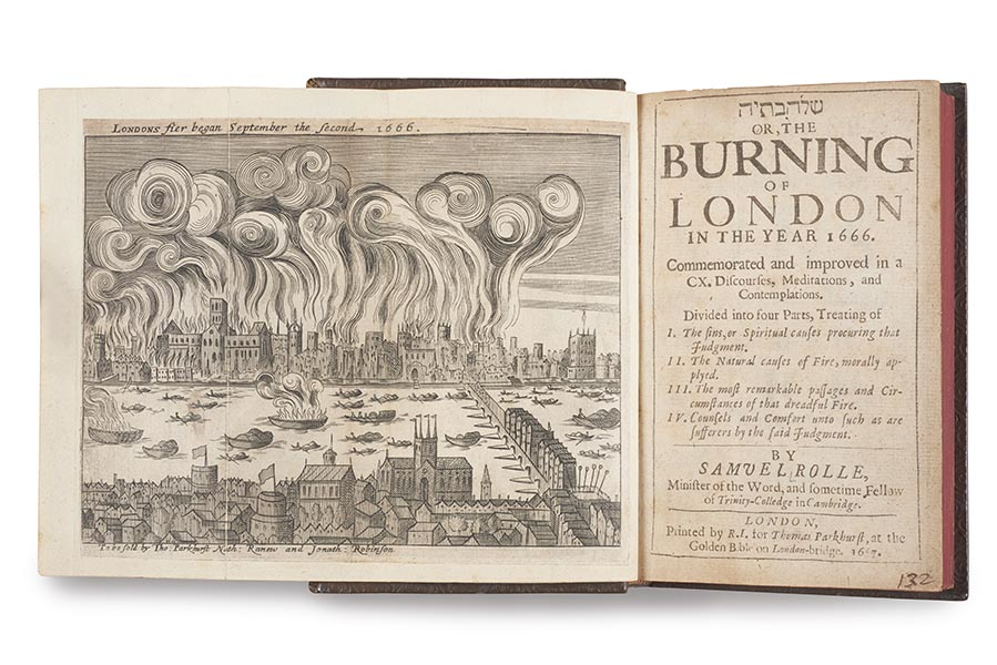 Photograph: engraving of the Great Fire of London, taken from a book. It shows the River Thames and the City with swirling plumes of smoke above.